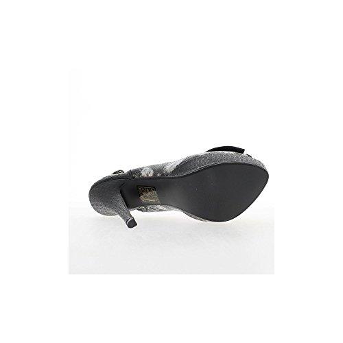 Schwarze Sandalen Blüte 13,5 cm Absatz und 3cm Tablett