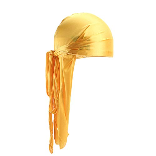 Men'S Turban Hat Wigs Men Satin Biker Headwear Headband Hair Accessories Extra Long Tail Du-Rag,Yellow,Size Fits All ()