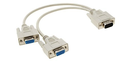Importer520 For VGA Gold 1 Male to 2 Female Video Splitter Cable, (Gold Hddb15 M Monitor)