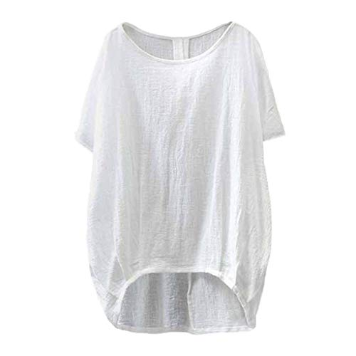 Dainzuy Women Tops Linen and Cotton Crew-Neck Short Sleeve T-Shirts Casual Tee Loose Tunic Blouse Tee Shirt
