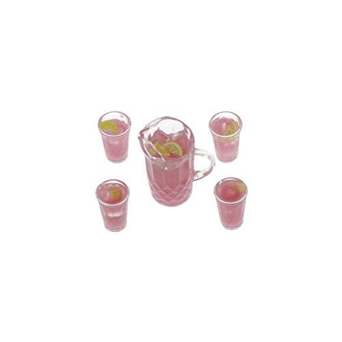 Dollhouse Miniature Pink Lemonade Set Of Pitcher W 4 Glasses ()