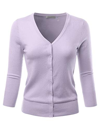 EIMIN Women's 3/4 Sleeve V-Neck Button Down Stretch Knit Cardigan Sweater Lilac S