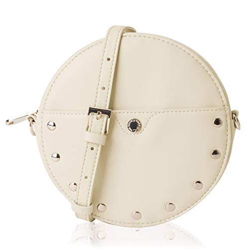 The Lovely Tote Co. Women's Circle Crossbody Bag Round Studded 2 Ways Fanny Pack,One,Beige
