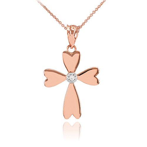 Collier Femme Pendentif 10 Ct Or Rose Solitaire Diamant Cœur Croix Charme (Livré avec une 45cm Chaîne)