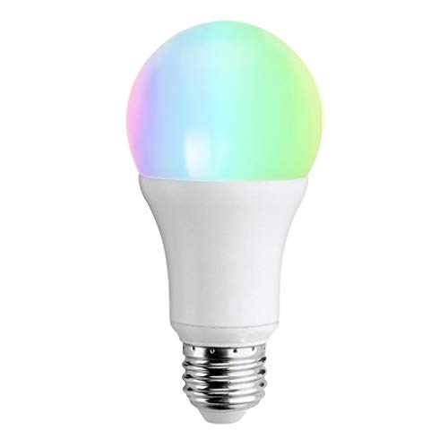 (Riverdalin WiFi Smart Lamp LED Dimmable Light Bulb 7W, E27 Smart Home Bulb Wireless Control RGB Colorful Music Light for Home Theater (White))