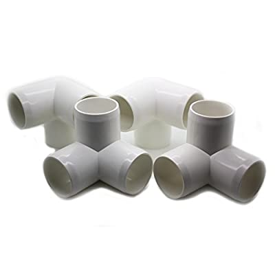 "3 Way Tee PVC Fitting - Build Heavy Duty PVC Furniture - Grade SCH 40 PVC 1"" Elbow Fittings - For One Inch Size Pipe - White [4 Pack]"