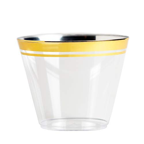 (Gold Rim Clear Plastic Cups ~ Elegant Disposable Plastic Party Cups ~ 9 oz 100 Pack~ Perfect Party Cups for Birthday Party, Wedding Receptions, Holiday Party, Special Occasions ~ BPA Free)