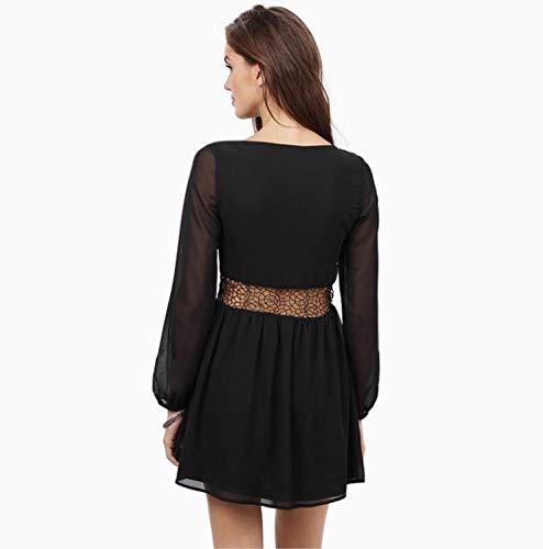 Profonde L Black Mousseline Color Robe Dentelle Couture Soie Taille Sexy Cou en v Black Femmes Vrac en Isbxn de Jupe lgante Size vwRXx