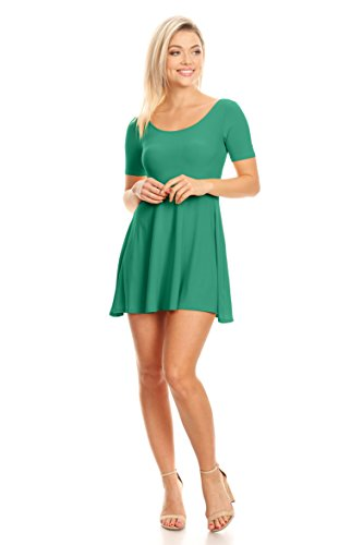 Simlu Womens Casual Short and 3/4 Sleeve Fit and Flare A Line Skater Dress reg and Plus Size Green Jade Medium