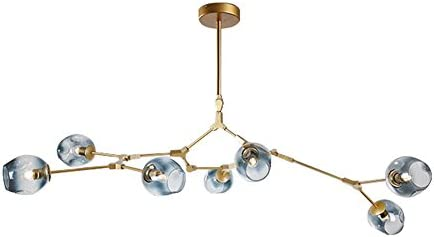 7-Light Adjustable Chandelier Pendant Light Gradient Blue Color Glass Bubble Ball Lampshade Rotating Ceiling Light, Modern Chandelier Lighting Matte Gold Fixture Blue