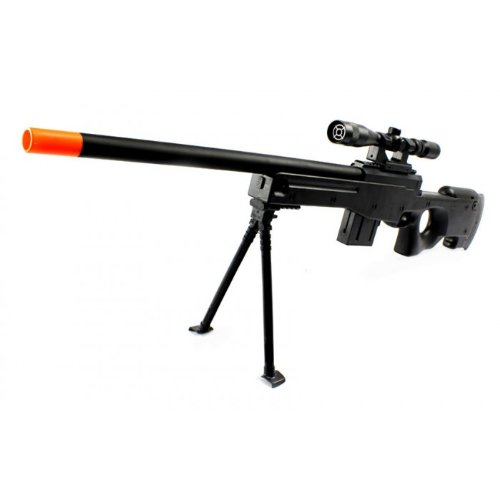 velocity airsoft powerful l96 airsoft sniper rifle quality fps-355 airsoft gun with high capacity magazine, folding bipod, mock scope 37.5 inches! sniper airsoft gun, shoots extremely hard!(Airsoft Gun)
