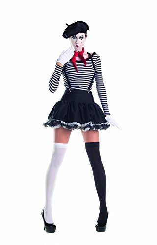 Party King Women's Mesmerizing Mime 7 Piece Costume Set with Hat, Black/White, Small -