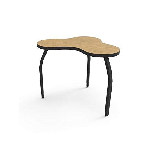 Aromzen Elo Manta Table, Bannister Oak Laminate & Banding with 3 Adjustable Black Legs - 26-31 x 52 x 48 in
