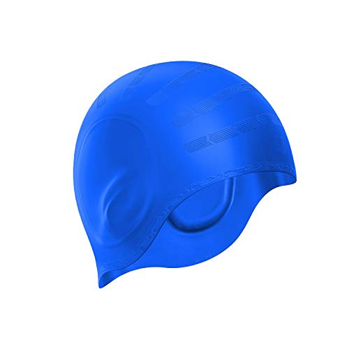 Swim Cap, Durable Silicone Swimming Cap Cover Ears, 3D Ergonomic Design Swimming Caps for Women Kids Men Adults Boys Girls with Nose Clip & Earplugs