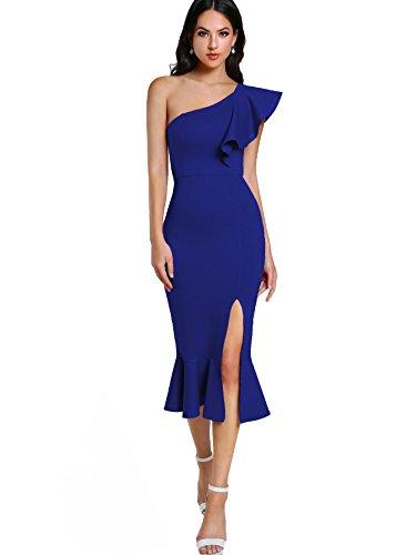 Hem Dress Ruffle (Floerns Women's Ruffle One Shoulder Split Midi Party Bodycon Dress Blue-2 S)