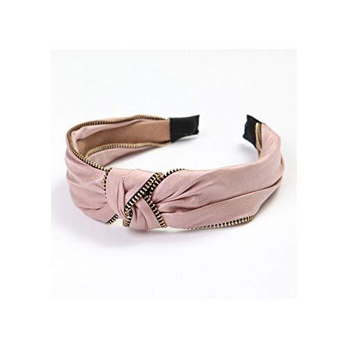 (2019 Leather Hairband Knot Headband Lady Hair Hoop Bands Accessories Hair Headdress,Pink )