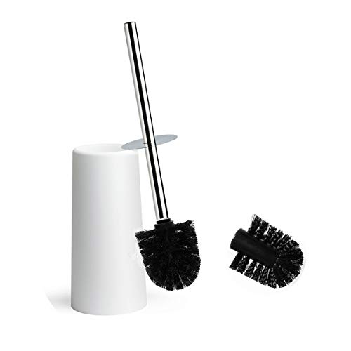 KEEGH Toilet Brush and Holder Modern Design Heavy Duty Stainless Steel Handle Compact Toilet Bowl Cleaner Set with Replacement Brush Head (Black)