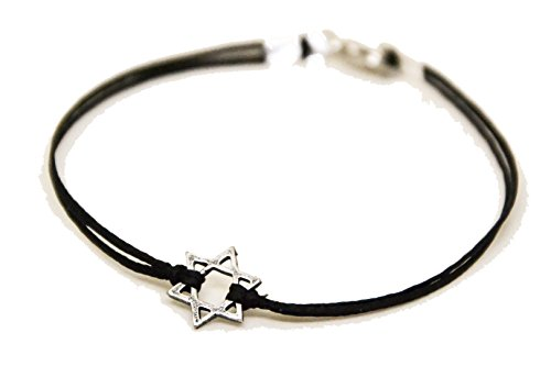 Star of David men's bracelet, silver, gift for him, black bracelet for men, Bar Mitzvah gift, Jewish, Hebrew Jewelry from Israel, judaica