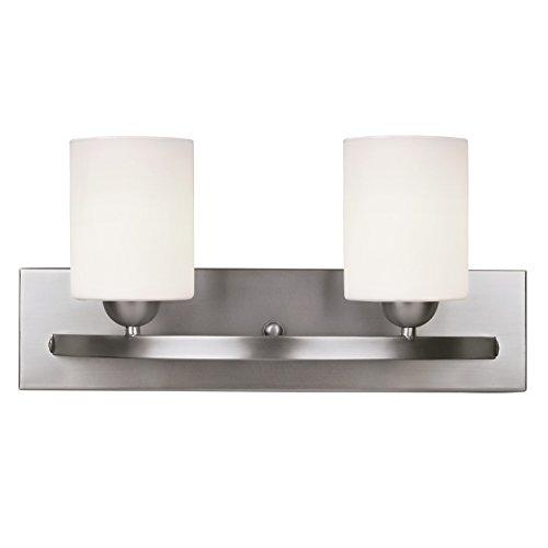 2 Bulb Bathroom Lighting - Canarm Luztar Hampton 2 Bulb Vanity Light, Brushed Pewter finish - White Opal Glass