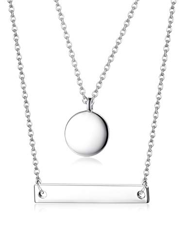 Sllaiss 2 Pcs 925 Sterling Silver Layered Necklace Set Charm Dainty Double Disc and Bar Pendant Necklace (Type ()