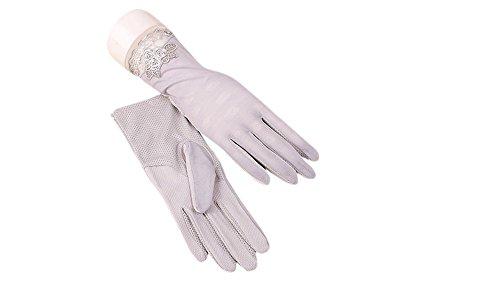 腫瘍手伝う尽きるformanism シンプル 涼しげ キレイめ レース エレガント シック サマー手袋 レディース (グレー)