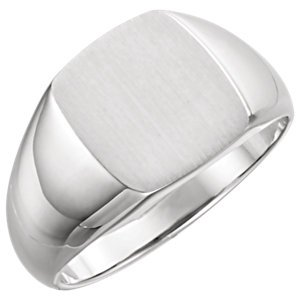 Men's Brushed Rectangle Signet Ring, Sterling Silver (13x12MM), Size 9.25 by The Men's Jewelry Store (Image #1)
