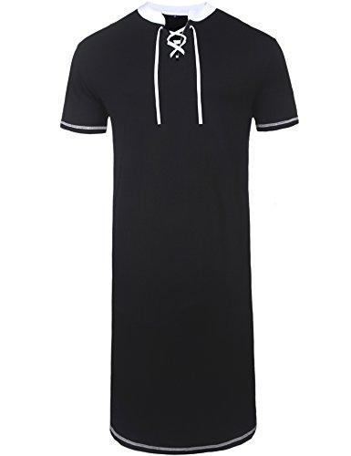 Daupanzees Men's Nightshirts Kaftan Night Shirt Short Sleeve Sleepwear Henley Sleep Shirt (Black M) by Daupanzees
