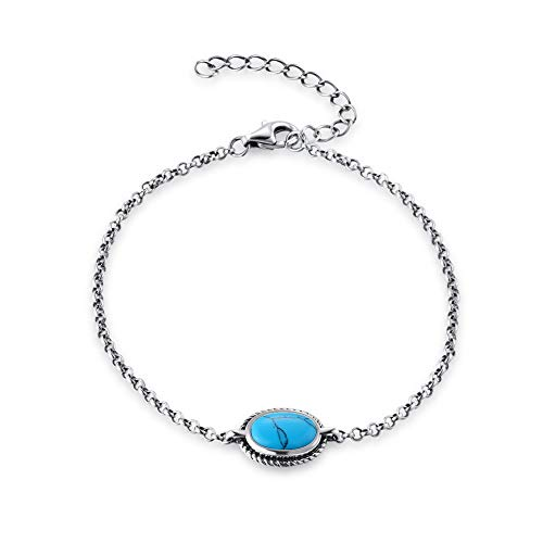Agvana Sterling Silver Created Oval Power Turquoise Chakra Bracelet Jewelry Gifts for Mom Women Girls 6.7''+1.6'