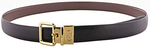 Cole Haan Women's Reversible Shrunken Leather Belt - Black-Chestnut