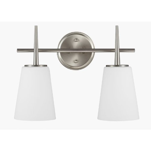 Progress Lighting P2805-09 Rizu One Light Bath Vanity, Brushed Nickel Finish with White Glass