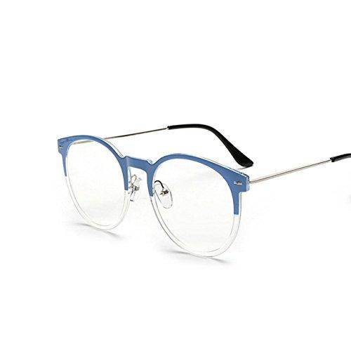 Tocoss (TM) haute qualité Lunettes de soleil Homme Femme ronde en métal Cadre Lunettes de soleil Male femelle Transparent Miroir Eyewear Marque Designer vœux, bleu