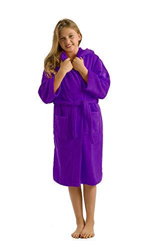 Terry Cloth Hooded Cotton Kids Bath Towel Cover Up, Medium, Purple (Terry Kids Cloth)