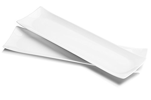 DOWAN 18.5-inch Porcelain Serving plates/Rectangular Platters, Set of 2, Classic White