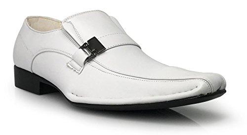 Enzo Romeo Sun03 Mens Robe Mocassins Élastique Glisser Avec Boucle Mode Robe Chaussures Blanc