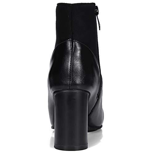 Éclair Cheville Juhate Cuir Femme Fermeture Souple Jushee Noir Bottes 7 Cm Bloc pH088wXq