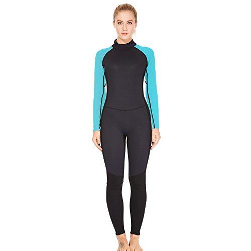 Dark Lightning 3/2mm Wetsuit Women, Womens Wetsuit Long Sleeve Full Suit Premium Neoprene Womens Suit Scuba Diving/Surf/Canoe, Jumpersuit (Blue 3/2, XXL)