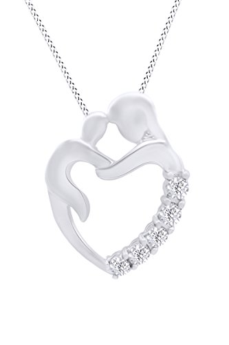 - Mothers Day Jewelry Gifts Journey Diamond Mom and Child Heart Pendant Necklace in Sterling Silver