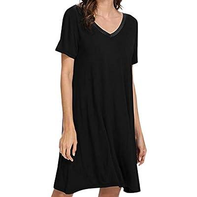Short Sleeve Womens Nightgown Sleep Shirt Dress Soft Loose Sleepwear with Lace