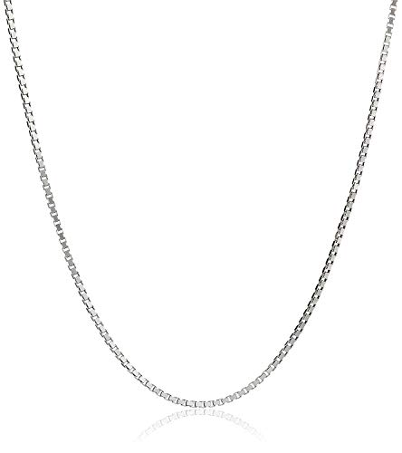 YFN Sterling Silver Box Chain 0.8 mm or 1 mm Necklace, 14