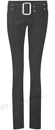 Miss Sexies Buckle Belt Bootleg//Super Skinny Black//Grey Girls School Trousers Ladies Stretch Hipster Miss Chief