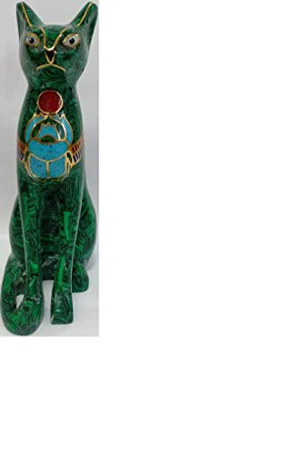Exquisite, ONE of A Kind, Beautiful Green Malachite, Handcrafted, Sculpture of Ancient Egyptian CAT Goddess BASTET from Egypt - Height 7.87 INCHES; 20 cm