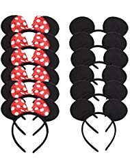 Set of 12 Mickey Minnie Mouse Costume Deluxe Fabric Ears Headband White Polka Dots Bow Boys Girls Birthday Party Hairs Accessories Baby Shower Headwear Halloween Party Favors Decorations (Red Black)