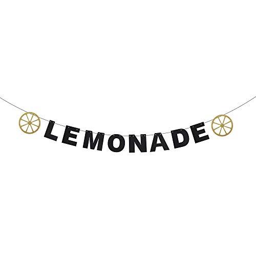 Lemonade Festival Banner - Hello Summer Carnival Party Fruit Lemonade Stand Décor - Kids Birthday Pool Beach Party - Gold Glitter Lemon Banner Decoration]()
