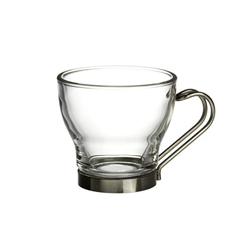 Bormioli Rocco Oslo Espresso Glass Cups 4 Set 11 Oz | Tempered Glass, Ergonomic Stainless Steel Handles, Dishwasher Safe | For Coffee Drinks, Beverages, Latte, Macchiato, Espresso, Mocha & - Rocco Espresso Bormioli Cups