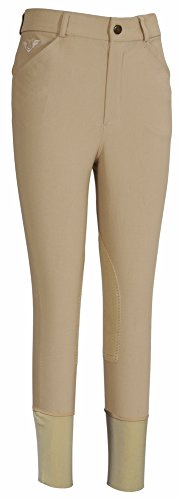 TuffRider Boy's A-Circuit Knee Patch Breech, Safari, (Boys Breeches)