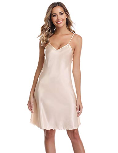 Vlazor Satin Nightshirts Sexy Nightdress Spaghetti Strap Negligee Nightgown Chemise Slip with Deep V Neck Beige ()