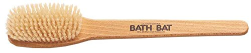 Kent FD5 Beechwood Wood Long Handle Shower Bath Body Brush. For Skin Exfoliate and Massage. 100% Boar Bristles. Best Back Body, Foot and Leg Scrubber Brushing for Wet and Dry Body. Made in England