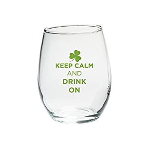"""Kate Aspen """"Keep Calm and Drink On"""" Green Design Stemless Wine Glass, 15-Ounce, Clear, Set of 4"""