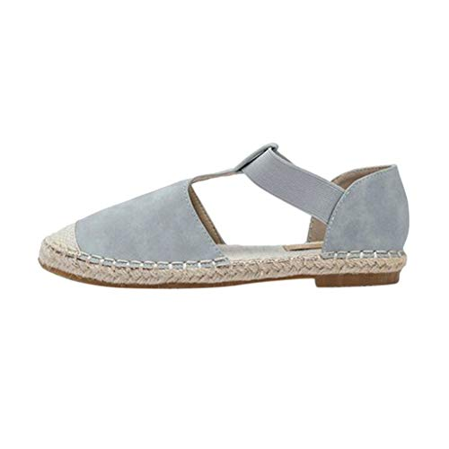 Toimothcn Women Closed Toe Sandals Elastic T Strap Shoes Round Toe Straw Platforms Sandals (Blue,US:7.5)