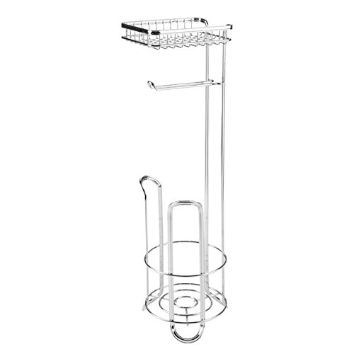 mdesign free standing toilet paper holder with shelf for bathroom chrome 841247151090 ebay. Black Bedroom Furniture Sets. Home Design Ideas